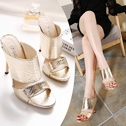 ZYUSHIZ Mme Le Kit d'axe High-Heel Shoes Sandales Chaussons sauvages Banquet 39