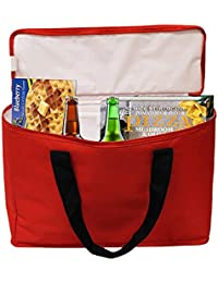 Earthwise Insulated Grocery Bag Tote Extra Large Heavy Duty Nylon Cooler W/ Zipper Closure And Inside Pocket