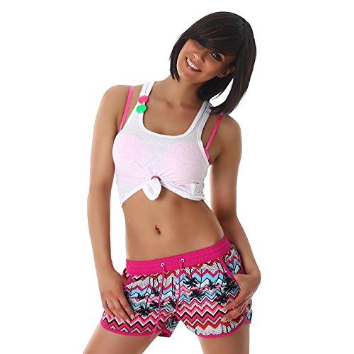 Damen Sporthose, kurze Sport Shorts in vielen eleganten Mustervarianten und Größen erhältlich Model 60951 Lila