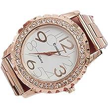 Amlaiworld Orologio da polso per Donne, Cristalli strass lega orologio da polso in acciaio inox (Oro rosa)