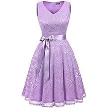 6acf889cd7c IVNIS Damen Ärmellos Vintage Spitzen Abendkleider Cocktail Party Floral  Kleid
