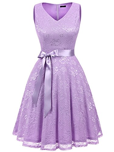 IVNIS RS90025 Damen Ärmellos Vintage Spitzen Abendkleider Cocktail Party Floral Kleid Lavender M