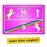 Ortsschild Bild Geschenk Fest Geburtstag personalisiert Einhorn Jetzt glitzerst du mit 10 zehn pink rosa Jedes Alter möglich