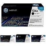 HP 124A (Q6000A) Schwarz Toner + HP 124A (Q6001A) Blau Toner + HP 124A (Q6002A) Gelb Toner + HP 124A (Q6003A) Rot Toner