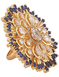 Tistabene Retails Big Bold Blue And White Colored Stones Cocktail Ring | Gold Plated With AD American Diamonds...