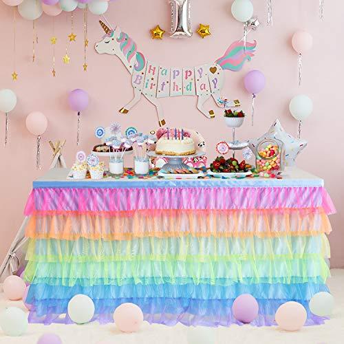 HBBMagic Einhorn Tüll Tischrock für rechteck oder runden Tisch, Handgefertigte Regenbogen tüll Tischröcke Für Party, Hochzeit, Geburtstag, Festival, Karneval, Einhorn-Raumdekorationen (Rock Runder Tisch)
