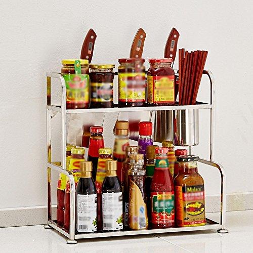 Rangement de cuisine Support De Stockage De Fournitures De Cuisine D'acier Inoxydable, Support De Couteau, Étagères De Planche À Découper, 2 Couches ( Couleur : B , taille : 30cm )