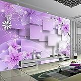 YShasaG Benutzerdefinierte 3D Fototapete Moderne Abstrakte Kunst Wandmalerei Lila Blumen Wohnzimmer TV Hintergrund Wohnkultur Wandpapier Wandbild, 368 cm x 254 cm