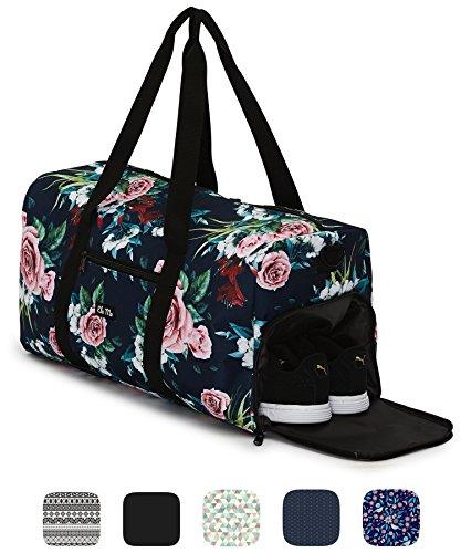 Ela Mo's Elegante Sporttasche Reisetasche mit Schuhfach | 38 Liter Handgepäck Weekender | für Frauen und Männer | in 6 trendigen Designs - A Rose is A Rose (Adidas Kinder Blume)