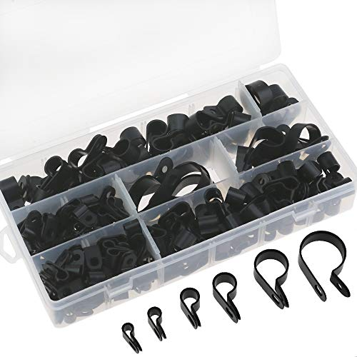 Clips de plástico P de nylon de 200 piezas - Sujetadores para conductos, cables, tubos y mangas Ø 5/6/9/12/19 / 25mm