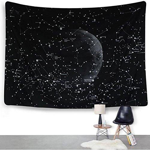 WANGXN Tapiz, Constelación, Sofá, Fondo, Tela Negro, Estrella, Luna, Serie, Decorativos, Tapices,Black,148X200cm