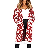 TianWlio Jacken Parka Mäntel Herbst Winter Warme Jacken Strickjacken Damen Gestrickte Weihnachtsbaum Pullover Mantel Drucken Langarm Strickjacke T-Shirt Mäntel rot S
