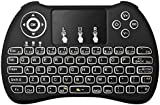 JUSTOP Q4 Backlit Slim Wireless Keyboard With Touchpad and Multimedia Keys LED BackLight Illustrated for Android TV Boxes, KODI Boxes, SFCs, HTPCs, PS3, XBOX360, Smart Phones, Compatible with Android, Mac, Linux, Windows OS