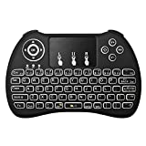 Justop Q4 - Teclado retroiluminado, fino, inalámbrico. con teclado táctil (Touchpad) y Teclas Multimedia con retroiluminación LED, para cajas Android TV, Kodi, SFC, HTPC, PS3, XBOX 360, teléfonos inteligentes, Compatible con Android, Mac, Linux, Windows OS