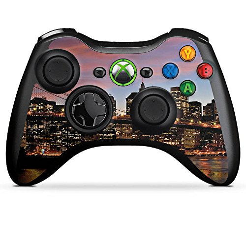 DeinDesign Microsoft Xbox 360 Controller Folie Skin Sticker aus Vinyl-Folie Aufkleber New York Night Stadt City (360-controller Grafik Xbox)