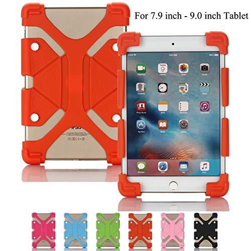 Universelle Tablet-Hülle, Artyond Stoßfeste Silikon-Schutzhülle mit Standfunktion für iPad Mini, Kindle Fire HD 7/HD 8/HDX, ASUS, Samsung Galaxy Tab und Andere 20,9-23,9°cm Tablets, Orange