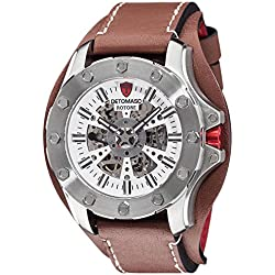 DeTomaso DT2061-B Men's Watch Rotore Silver / Brown, Analogue, Automatic, Leather