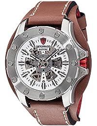 DETOMASO Herren-Armbanduhr ROTORE mit silbernem Edelstahl-Gehäuse und Automatikwerk mit Blick auf das Zifferblatt. Marken-Herren-Automatik-Uhr mit einem XXL Durchmeser von 49 mm.