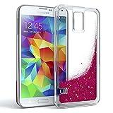 Eazy CASE Hülle Samsung Galaxy S5 / S5 LTE+ / S5 Duos / S5 Neo Schutzhülle mit Flüssig-Glitzer, Handyhülle, Schutzhülle, Back Cover mit Glitter Flüssigkeit, Silikon, Transparent/Durchsichtig, Pink