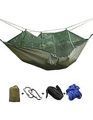 Camping Hamaca FYHAP doble Portable Nylon Hammock peso ligero Tela de paracaídas con mosquitero para el senderismo al aire libre Uso de viajes de playa de jardín