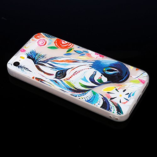 ISAKEN Custodia iPhone SE - Cover iPhone 5S - Fashion Agganciabile Luminosa Cover Denso Case con LED Lampeggiante per Apple iPhone 5 5s SE Ultra Slim Sottile TPU Cover Rigida Gel Silicone Protettivo S Cavallo head