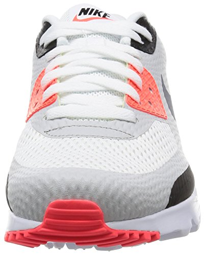 Nike Air Max 90 Ultra Essential, Baskets Basses Homme, Weiß Blanco / Gris / Rojo / Negro (White / Cool Grey-Infrared-Black)