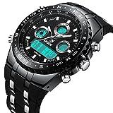 Herren Uhren Militär Wasserdichte Sport Analog Digital Groß Uhr Männer Dual Display LED Licht Stoppuhr Army Shock Resistant Casual Armbanduhren mit Schwarz Gummiband