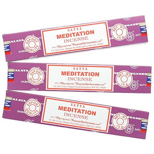 Satya Nag Champa varillas de incienso de meditación, 3 packs