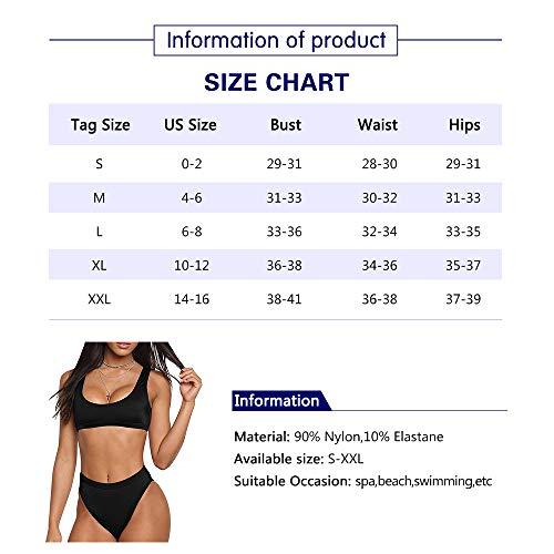 MiYang Damen Zwei Stücke Bikini-Sätze Sport-Badeanzug niedrige Schaufel Ernte top mit Hohen taille und hohe Schnitt Freche unten L Schwarz - 5