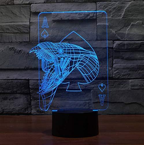 Visuelle Schlafzimmer Bedside Decor Nachtlicht Casino Poker Monster 3D Led Tischlampe Usb 7 Farbwechsel Stimmung Leuchte Geschenke (Usb-kabel Monster-beleuchtung)