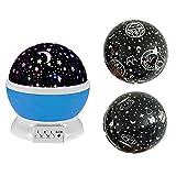 Eizur 360° Rotierende Projektionslampe Beamerlampe LED Projektor Lampe Nachttischlampe Romantisch für Baby-Kinderzimmer Schlafzimmer Kinderzimmer Nachtlicht Einschlafhilfe Kinder USB / batteriebetrieben with 3 Deckel