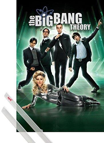 1art1® Poster + Suspension : The Big Bang Theory Poster (91x61 cm) Au Vaisseau De Barbarella Et Kit De Fixation Transparent