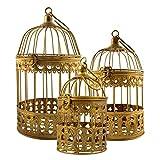 Lot de 3 cages à oiseaux dorées