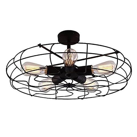Industrial Loft Retro Fan Style Ceiling Light SYAODU Half Suspension