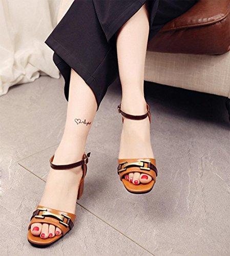 Wilde Sommertasche mit offenen Sandalen mit dicker Schuhen mit hohen Absätzen geformt Schnalle Yellow