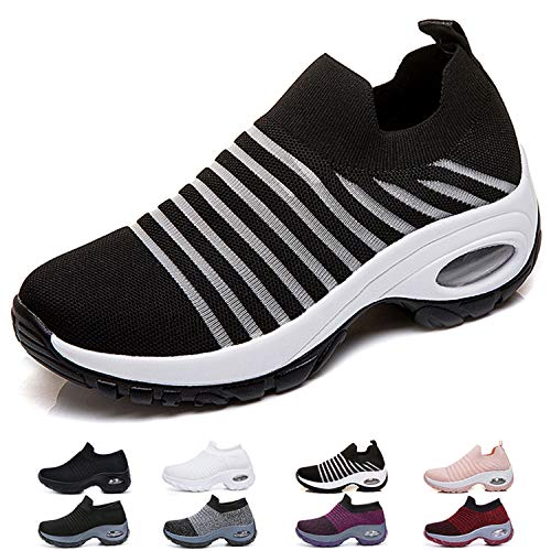 Funnie Chaussures de Course pour Femmes Baskets Compensées Chaussure de Running Fitness Sport Marche Air Respirant Mesh Chaussette Outdoors Sneakers Jogging Formateurs Compensées 4 CM