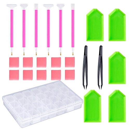 Musuntas 24 pièces Diamant kit d'outils de peinture/Diamant Sticky stylos Assiettes Argile, broderie point de croix Lot d'accessoires de stylo