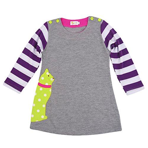 Rebavl Mädchen Baumwolle Langarm Kleider T-shirt Streifen Tiere Mustern Crewneck Lose Oberteil Größe 86-116 (T-shirt Mädchen Besser)
