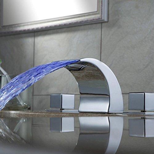 Zeitgenössisch Centerset LED/Wasserfall Mit Keramikventil Zwei Griffe Drei Löcher zum Chrom Waschbecken Wasserhahn
