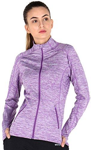 MOTORUN Veste Femme Sweat Capuche Veste Running Zippé Noir Pour Fitness Violet