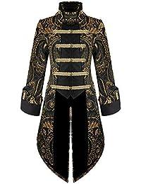 Devil Fashion Hommes Queue de Pie Veste Doré Noir Gothique Steampunk  Aristocrate 7d732205d88