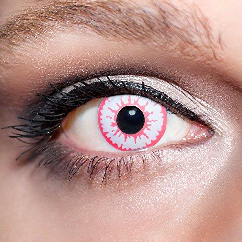 KwikSibs farbige pinke Kontaktlinsen Wolfsaugen 1 Paar (= 2 Linsen) weiche Funlinsen inklusive Behälter (Stärke/Dioptrie: 0 (ohne))