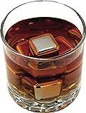 Whisky Steine Ice Cubes 8er Set + Stoffbeutel von VINENCO | 8 Wiederverwendbare Edelstahl Kühlsteine | Whiskey Rocks Eissteine Cooling Stones | Eiswürfel Ersatz für Cocktails, Drinks – Kein Verwässern - 6