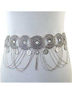 Taillenkette in Silber mit Blumen, Münzen und Kristallen