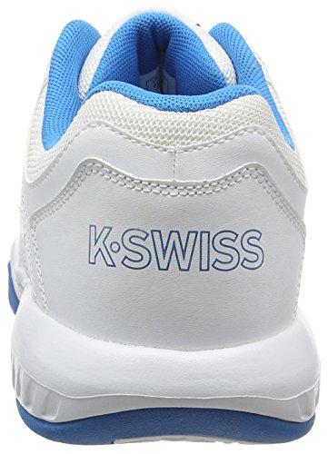 K-Swiss Calabasas Omni, Scarpe Sportive da Uomo, Bianco/Blu (HYL BLUE/FIERY RED), 44 EU Bianco/Blu (HYL BLUE/FIERY RED)
