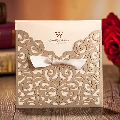 Wishmade 50X Gold Square Laser Cut Wedding Invitations Cards with Bow Hollow Favors Tri-fold Lace Sleeve Invitations for Engagement Baby Shower Birthday Quinceanera CW5011 (Tri-fold-karte)