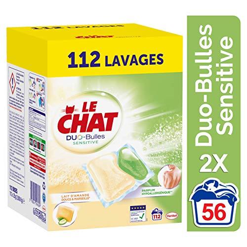 Le Chat Sensitive Duo-Bulles - Lessive Hypoallergénique en Capsules - Marseille & Lait d'Amande Douce - 112 Lavages (2 x 56 capsules)
