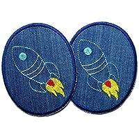 Set 2 Knieflicken Jeans Rakete Raumschiff Patch Hosenflicken zum aufbügeln