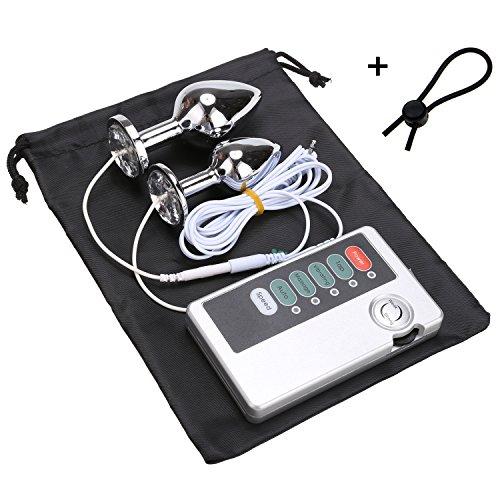 Greenpinecone® Luxus Elektro Analplug Set 32 mm und 25 mm, Elektrosex Buttplug für Reizstromgerä, mit Penisring