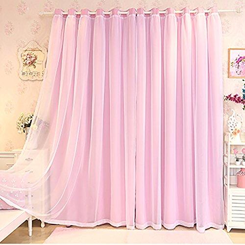 YAN Wohnzimmer Vorhänge Mode Romantik Vorhang Fenster Zimmer Vorhang Mädchen Vorhänge Vorhänge Thermische Isolierte Proof Mite Persönlichkeit UV Schatten (Color : Rosa, Größe : 3.0x2.7M) -
